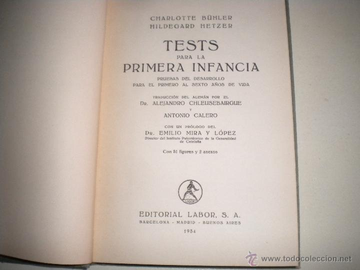 Libros antiguos: TESTS PARA LA PRIMERA INFANCIA - EDITORIAL LABOR 1.934 - Foto 5 - 47207062