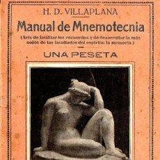 Libros antiguos: VILLAPLANA : MANUAL DE MNEMOTECNIA (BERGUA, C. 1930). Lote 54611026