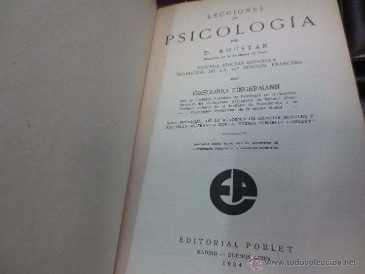Libros antiguos: LECCIONES DE PSICOLOGÍA D. ROUSTAN EDIT POBLET AÑO 1934 - Foto 2 - 54990659