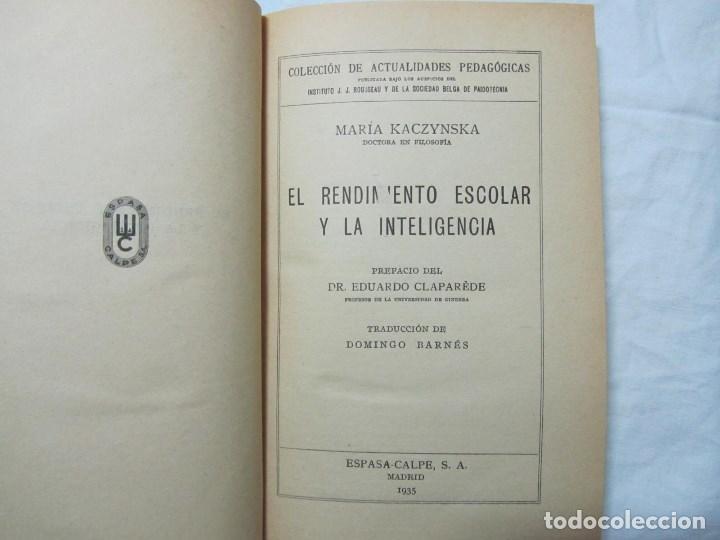 Libros antiguos: El rendimiento escolar y la inteligencia 1935 M. Kaczynska - Foto 5 - 76176059