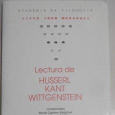 Libros antiguos: ACADÈMIA DE FILOSOFIA LICEU JOAN MARAGALL : LECTURA DE HUSSERL KANT WITTGENSTEIN.. Lote 94921307