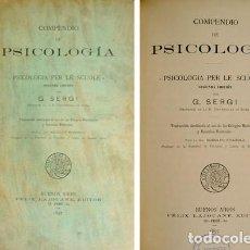 Libros antiguos: SERGI, GIUSEPPE. COMPENDIO DE PSICOLOGÍA [PSICOLOGIA PER LE SCUOLE]. 1897.. Lote 109339919