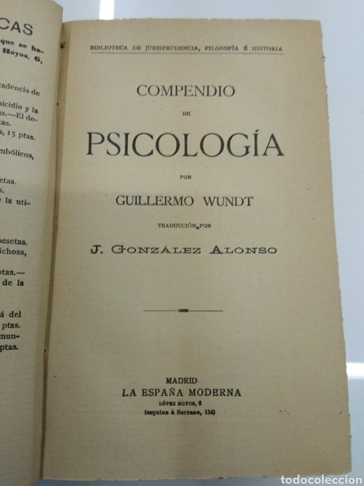 COMPENDIO DE PSICOLOGIA POR GUILLERMO WUNDT MADRID ED. LA ESPAÑA MODERNA CIRCA 1900 UNICO TC (Libros Antiguos, Raros y Curiosos - Pensamiento - Psicología)