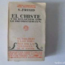 Libros antiguos: LIBRERIA GHOTICA. S. FREUD. EL CHISTE Y SU RELACIÓN CON LO INCONSCIENTE.EL DELIRIO Y LOS SUEÑOS.1920. Lote 153948550