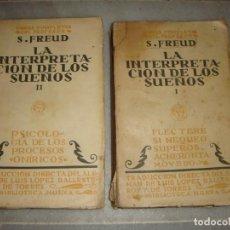 Libros antiguos: LA INTERPRETACIÓN DE LOS SUEÑOS. S. FREUD. TOMOS I Y II. AÑO 1923. Lote 154683838