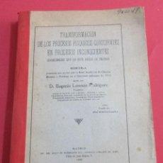 Libros antiguos: TRANSFORMACIÓN DE LOS PROCESOS PSÍQUICOS CONSCIENTES EN INCONSCIENTES. E. LORENZO. 1920.. Lote 155896090