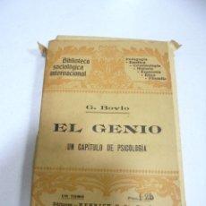 Libros antiguos: EL GENIO. UN CAPITULO DE PSICOLOGIA. G.BOVIO. EDITORES HENRICH Y CIA. BARCELONA. Lote 177770118