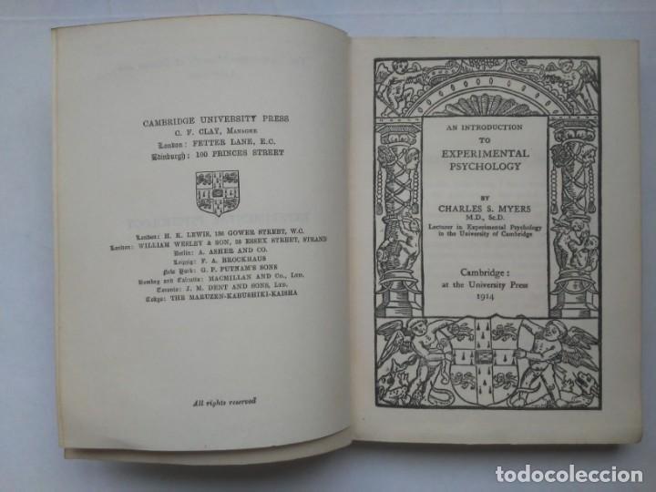 Libros antiguos: An Introduction to Experimental Psychology C.S.Myers Cambridge University Press 1914 Libro en inglés - Foto 10 - 194403205