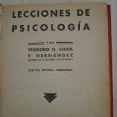 Libros antiguos: LECCIONES DE PSICOLOGÍA (1933). Lote 199130406