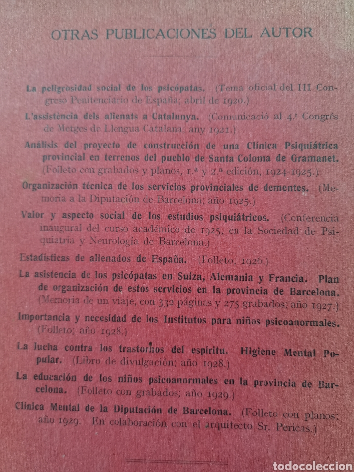 Libros antiguos: Libro La asistencia de los psicópatas ya la beneficencia de 1930. Dr. Tomás Buquet Teixidor. - Foto 5 - 223716752