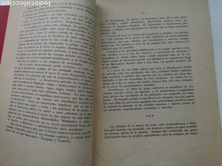 Libros antiguos: Libro La asistencia de los psicópatas ya la beneficencia de 1930. Dr. Tomás Buquet Teixidor. - Foto 6 - 223716752