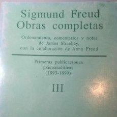 Libros antiguos: SIGMUND FREUD. OBRAS COMPLETAS TOMO III. Lote 233709590