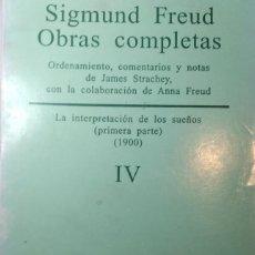 Libros antiguos: SIGMUND FREUD. OBRAS COMPLETAS TOMO IV. Lote 233709910