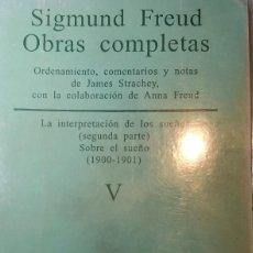 Libros antiguos: SIGMUND FREUD. OBRAS COMPLETAS TOMO V. Lote 233710200