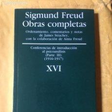 Libros antiguos: OBRAS COMPLETAS SIGMUND FREUD XVI. AMORRURTU. Lote 243201620