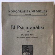 Libros antiguos: EL PSICO-ANÀLISI. - MIRA, EMILI.. Lote 262720280