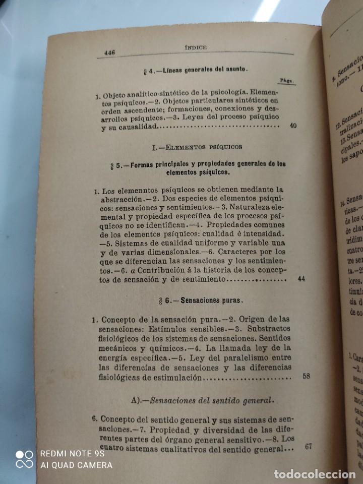 Libros antiguos: COMPENDIO DE PSICOLOGIA POR GUILLERMO WUNDT Madrid Ed. LA ESPAÑA MODERNA Circa 1900 Unico TC - Foto 6 - 142707686