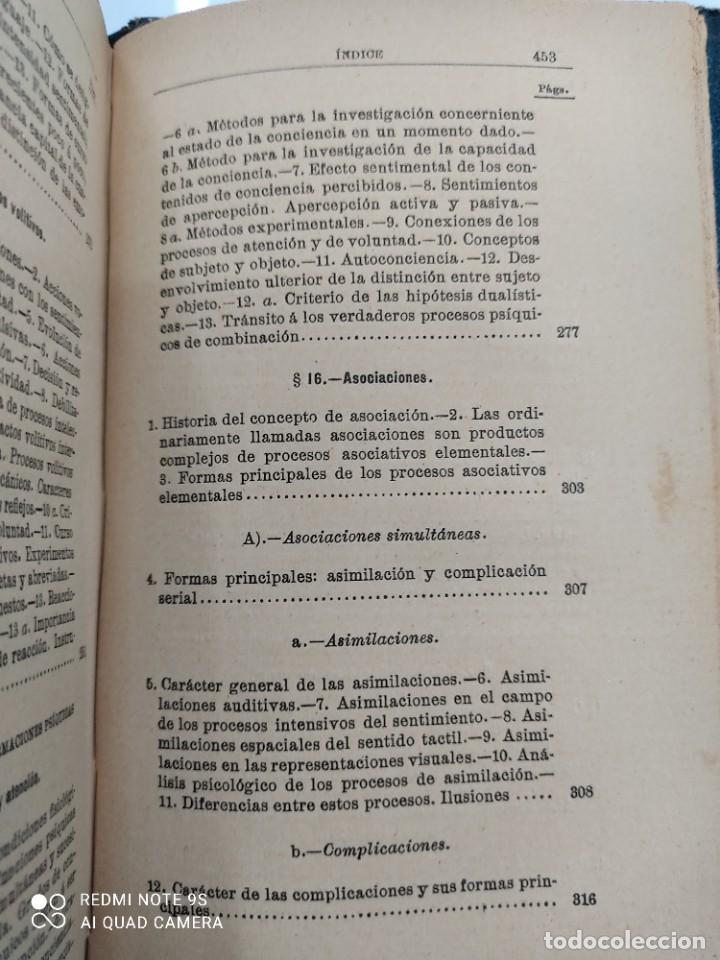Libros antiguos: COMPENDIO DE PSICOLOGIA POR GUILLERMO WUNDT Madrid Ed. LA ESPAÑA MODERNA Circa 1900 Unico TC - Foto 13 - 142707686