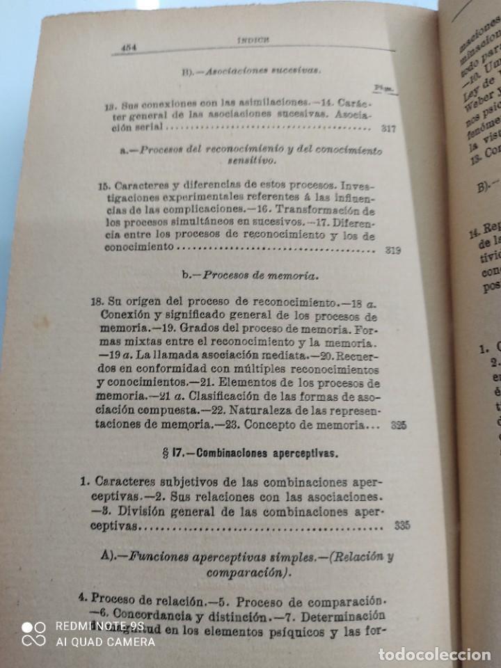 Libros antiguos: COMPENDIO DE PSICOLOGIA POR GUILLERMO WUNDT Madrid Ed. LA ESPAÑA MODERNA Circa 1900 Unico TC - Foto 14 - 142707686