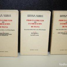 Libros antiguos: PROCESAMIENTO DE INFORMACIÓN HUMANA. UNA INTRODUCCIÓN A LA PSICOLOGÍA. OBRA COMPLETA EN TRES TOMOS.. Lote 277141743