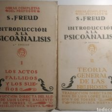 Libros antiguos: OBRAS COMPLETAS DEL DR SIGMUND FREUD. INTRODUCCIÓN A LA PSICOANÁLISIS I Y II. 1929.1934.. Lote 287963318