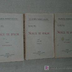 Libros antiguos: NOSCE TE IPSUM. TRATADO DE PSICOFÍSICA UNIVERSAL...(TRES TOMOS, 1927). Lote 26456014