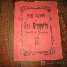 Libros antiguos: NUEVE ORACIONES DE SAN GREGORIO . Lote 12697940