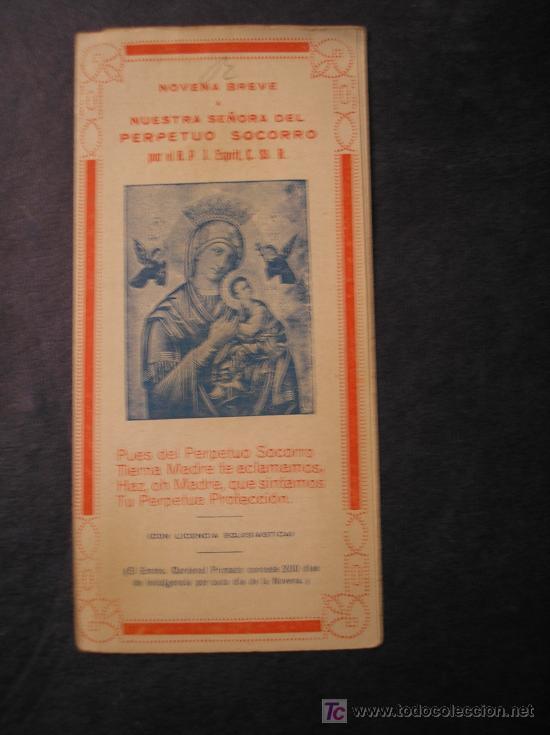 NOVENA BREVE A NTRA. SRA. DEL PERPETUO SOCORRO (Libros Antiguos, Raros y Curiosos - Religión)