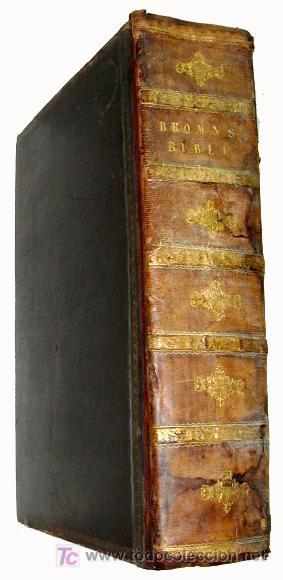 Libros antiguos: LIBRE INTERPRETACION DE LA BIBLIA DE JOHN BROWN 1812 - GRABADOS A TODA PAG - 43,5cm x 29cm x 10,5cm - Foto 4 - 26698240