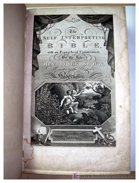 Libros antiguos: LIBRE INTERPRETACION DE LA BIBLIA DE JOHN BROWN 1812 - GRABADOS A TODA PAG - 43,5cm x 29cm x 10,5cm - Foto 6 - 26698240