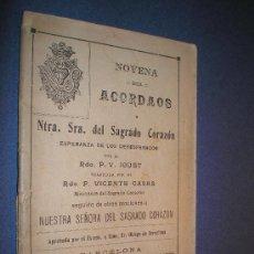 Libros antiguos: NOVENA DEL ACORDAOS A NTRA. SRA. DEL SAGRADO CORAZÓN. Lote 12751798
