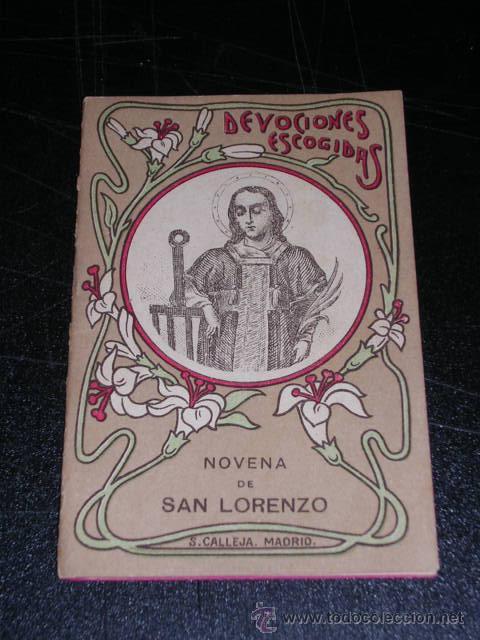 NOVENA DE SAN LORENZO , DEVOCIONES ESCOGIDAS , S.CALLEJA , MADRID (Libros Antiguos, Raros y Curiosos - Religión)