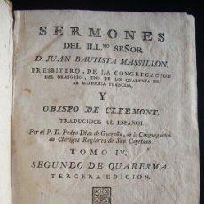 Libros antiguos: 1800-JUAN BAUTISTA MASSILLÓN. SERMONES. TOMO IV ESPAÑOL.. Lote 26573188