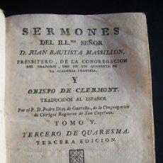 Libros antiguos: 1800-JUAN BAUTISTA MASSILLÓN. SERMONES. ESPAÑOL. TOMO V. Lote 26363256
