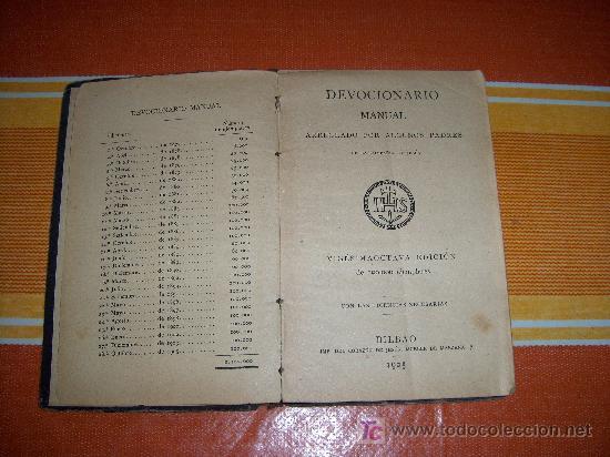 Libros antiguos: DEVOCIONARIO MANUAL ARREGLADO POR ALGUNOS PADRES DE LA COMPAÑIA DE JESÚS, BILBAO 1905 - Foto 2 - 24578580