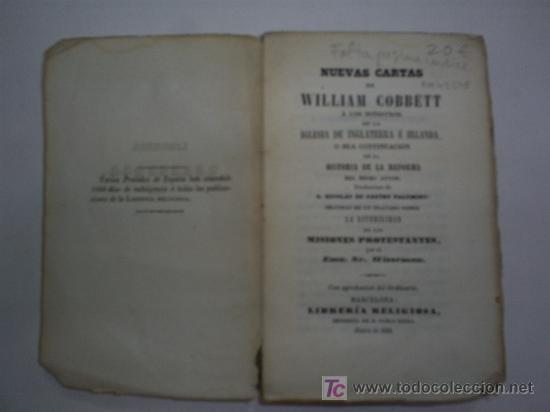 Libros antiguos: Nuevas Cartas de William Cobbett á los Ministros de la Iglesia de Inglaterra é Irlanda 1850 RM43198 - Foto 3 - 22329836