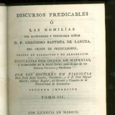 Alte Bücher - DISCURSOS PREDICABLES O LAS HOMILIAS. D.F. GERONIMO BAUTISTA DE LANUZA. TOMO III. 1803. - 22808718