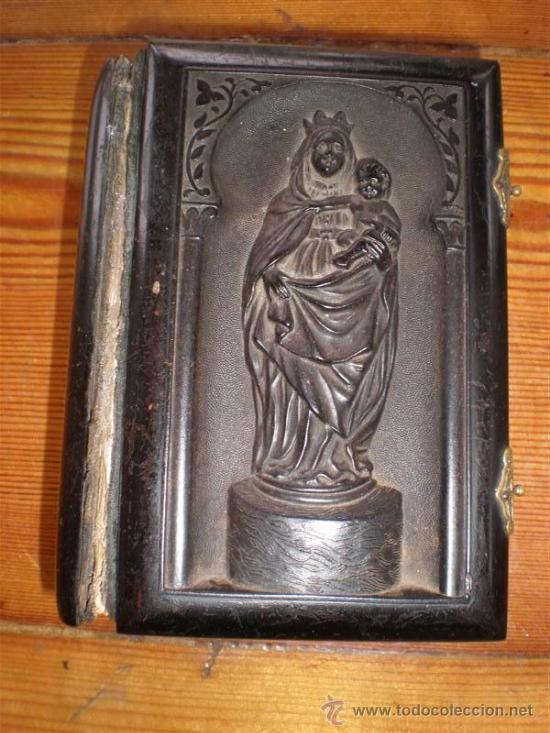 MISA ANTIGUO DE PASTA TALLADA UNA VIRGEN CON EL NIÑO (Libros Antiguos, Raros y Curiosos - Religión)