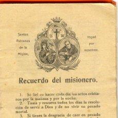 Libros antiguos: RECUERDO DEL MISIONERO. 9,5 X 13,5 CM. 46 PÁG.. Lote 26561756