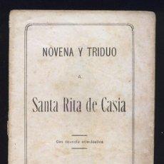 Livros antigos: NOVENA Y TRIDUO A SANTA RITA DE CASIA. SANTANDER. Lote 27655944