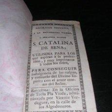 Libros antiguos: SANTA CATALINA,SAGRADA NOVENA A LA ESCLARECIDA VIRGEN Y SERAFICA MADRE S.CATALINA DE SENA, BARCELONA. Lote 27869993