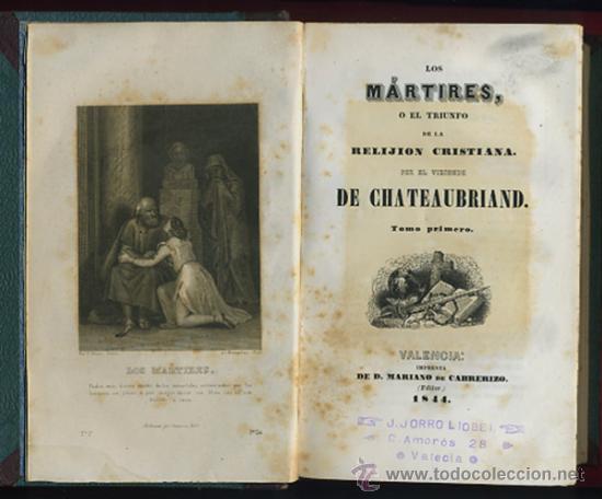 Libros antiguos: LIBRO LOS MARTIRES O EL TRIUNFO DE LA RELIGION CRISTIANA, VALENCIA 1844, CHATEAUBRIAND, 2 TOMOS - Foto 5 - 27978416