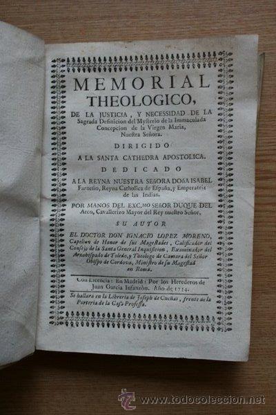 MEMORIAL THEOLOGICO, DE LA JUSTICIA, Y NECESSIDAD DE LA SAGRADA DEFINICIÓN DEL MYSTERIO DE LA... (Libros Antiguos, Raros y Curiosos - Religión)