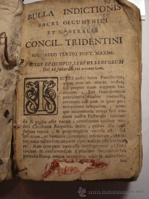 EXCELENTE Y RARO LIBRO AÑO 1563 - CONCILIO DE TRENTO - CONCILLI TRIDENTINI - 406 PAGINAS (Libros Antiguos, Raros y Curiosos - Religión)