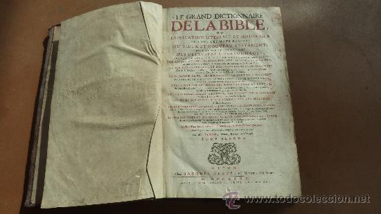 Libros antiguos: libro El gran diccionario de la Biblia. 1740. En frances. - Foto 6 - 30482284