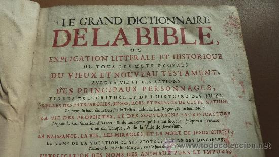 Libros antiguos: libro El gran diccionario de la Biblia. 1740. En frances. - Foto 8 - 30482284