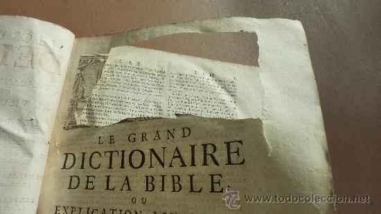 Libros antiguos: libro El gran diccionario de la Biblia. 1740. En frances. - Foto 11 - 30482284