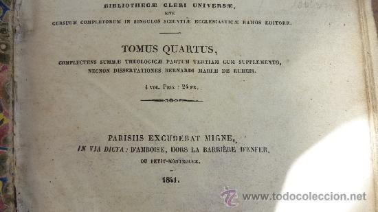 Libros antiguos: 4 tomos. Summa theologica. Completo. 1841. De Petri Lombardi. - Foto 17 - 30501503