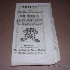 Libros antiguos: NOVENA DE LA PURISIMA CONCEPCION DE MARIA , MANRESA S.XVIII , 24 PAG, SEÑALES DE USO. Lote 31071133