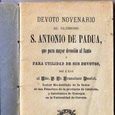 Old books - DEVOTO NOVENARIO S. ANTONIO DE PADUA - 1899 - BARCELONA - 31184843